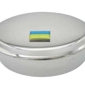 Ukraine Flag Pendant Oval Trinket Jewelry Box